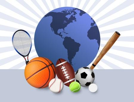 Sports concept background with sport balls and blue globe illustration Ilustração