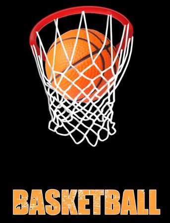 バスケット ボールのフープで黒の背景の図  イラスト・ベクター素材