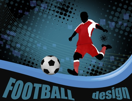 Football player with a soccer ball poster. Football design,  illustration Vector