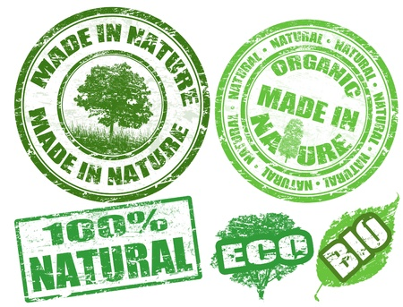 biologic: Set of grunge rubber stamps with the words Made in Nature written inside illustration