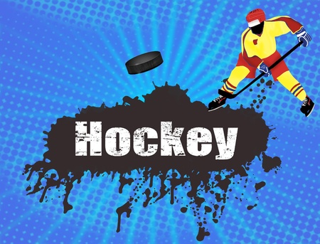 ice hockey player: Grunge hockey poster with player and puck illustration Illustration