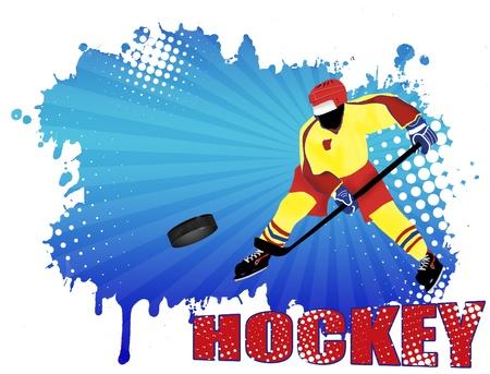 hockey goal: Action player on grunge hockey poster background illustration