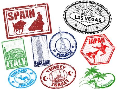 passeport: Set de voyage illustration stylis�e timbres grunge Illustration