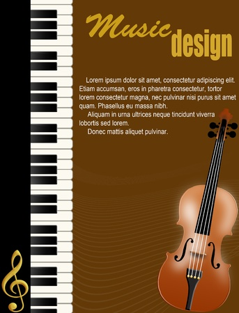 Poster background with piano and violin on brown illustration Vector