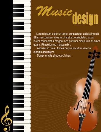 chiave di violino: Sfondo poster con pianoforte e violino su illustrazione marrone Vettoriali
