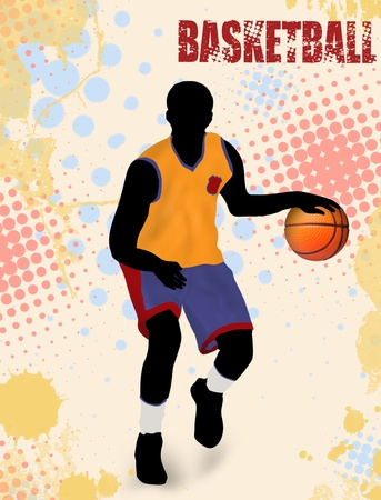 international basketball: Basketball poster background with player silhouette illustration