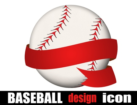 playoff: Baseball ball with a ribbon on white background