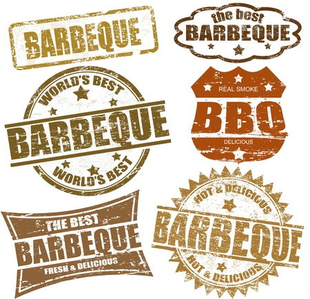 bbq: Set of grunge rubber stamps  with  the word barbeque written inside