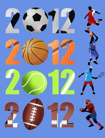 Happy new year 2012,soccer, basketball, tennis, american football Vector