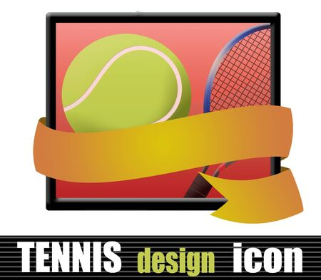 racquet: Tennis design icon with racquet and ball with a ribbon