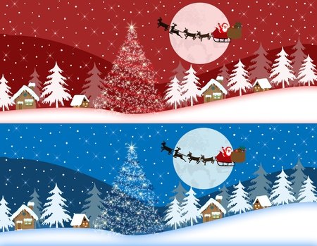 papa noel en trineo: Rojo y banderas azules de Navidad Vectores