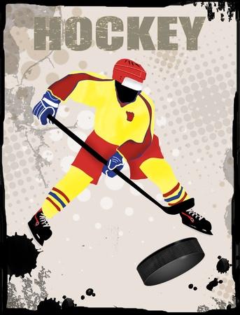 hockey skates: Action player, on grunge background