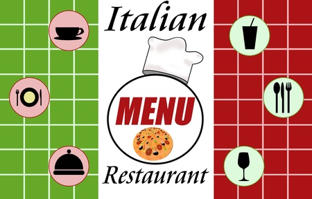 Italian restaurant menu on marble background Vector