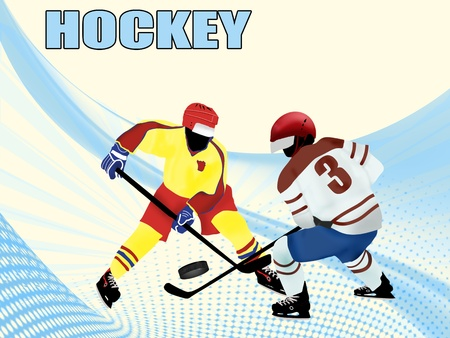 Hockey poster design with players silhouette, vector illustration Vector