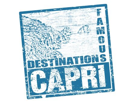 italy landscape: Grunge rubber stamp with the famous Faraglioni rocks and word Capri inside, vector illustration