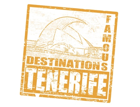Grunge rubber stamp with the auditorio in Santa Cruz de Tenerife, and word Tenerife inside, vector illustration Vector