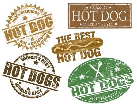 Set van grunge stempels met de tekst hotdogs geschreven binnen, vector illustratie