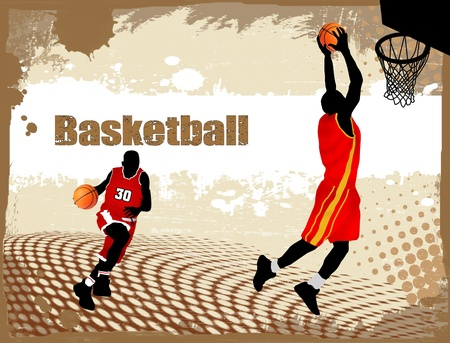 basketball game: Dirty basketball poster background with space for your text, vector illustration