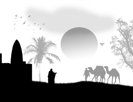desert oasis: Vector illustration in Sahara with bedouins, mosque and camels, on black and white