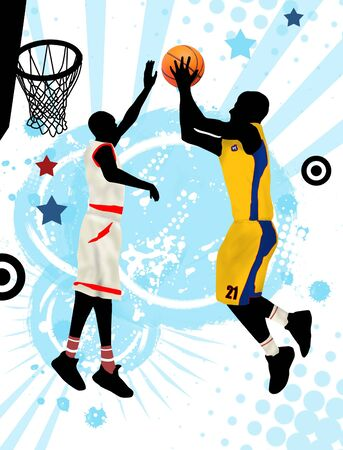 Action basketball players on grunge poster background, vector illustration Vector