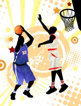 international basketball: Two basketball players on grunge poster background, vector illustration
