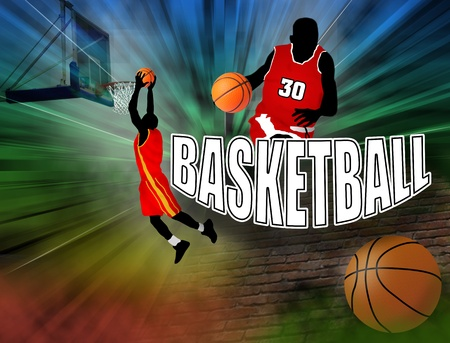 Poster with basketball players on abstract background Stock Vector - 11813118