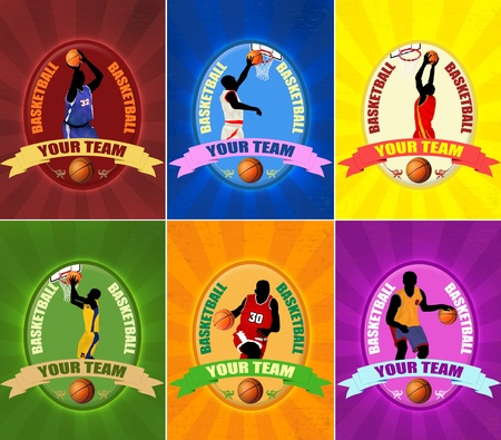 Set of basketball illustration emblems  with players silhouette,vector illustration Vector