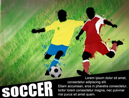 Soccer players with a soccer ball poster. Soccer design illustration with space for your text Vector
