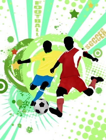 sporting event: Action football players on grunge poster background, vector illustration