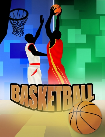 basketball players poster background, vector illustration Stock Vector - 11813121