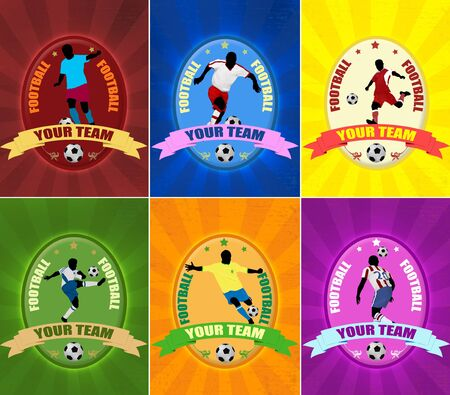rival: Set of football illustration emblems  with players silhouette,vector illustration