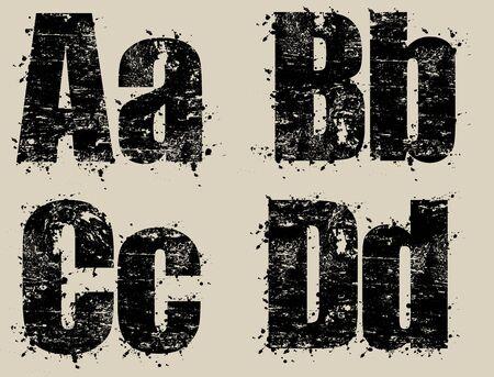 inked: Grunge inked letters, vector illustration Illustration