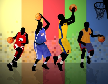 victory symbol: Basketball players on abstract background, vector illustration