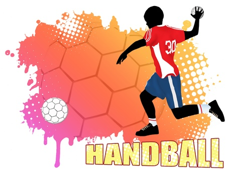 Handball action player on grunge poster background, vector illustration