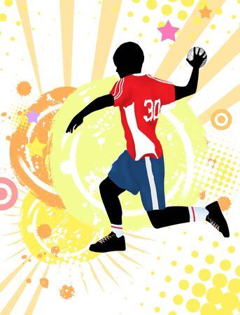 dribbling: Handball player on grunge poster background, vector illustration