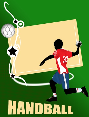 Handball banner with  player silhouette on green background, vector illustration Stock Vector - 11813127