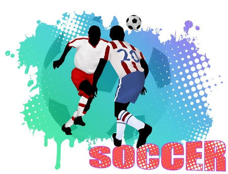 Soccer action players on grunge poster background, vector illustration Vector
