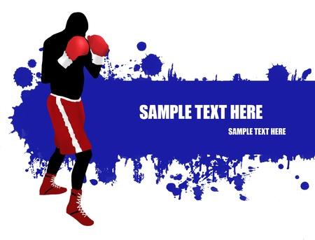 boxeadora: Grunge cartel con una silueta de boxeador, ilustraci�n vectorial Vectores
