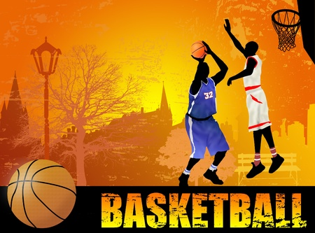 basketball game: Action players on the city park, on grunge background, vector illustration