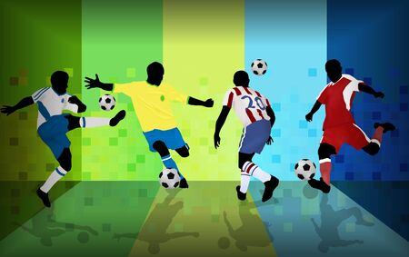 kick ball: Football players on abstract background, vector illustration