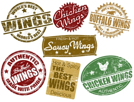 chicken wing: Set of grunge rubber stamps with the word wings written inside, vector illustration Illustration