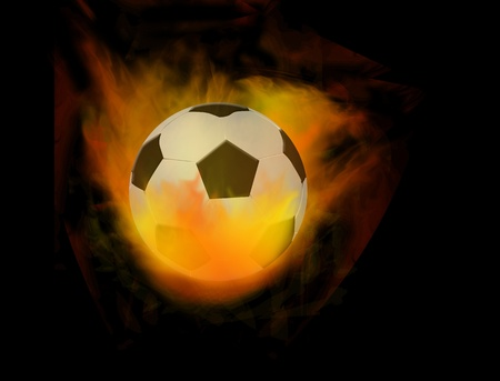 Soccer ball on fire, vector illustration Vector
