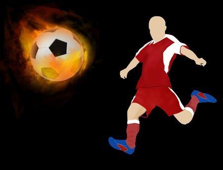 fireballs: Soccer ball on fire with player silhouette, vector illustration Illustration