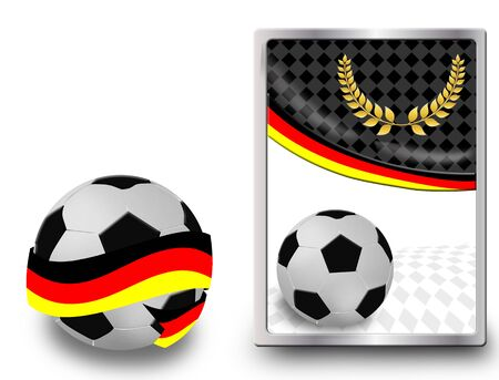 deutchland: Soccer ball wrapped in ribbon with flag of Germany and web icon, vector illustration