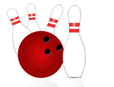 Bowling ball and pins on white, vector illustration Vector
