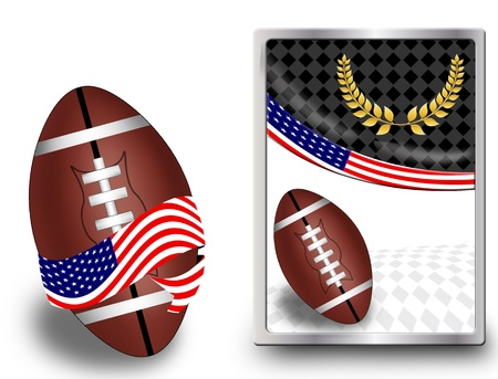 American football ball wrapped in ribbon with flag of USA and web icon, vector illustration Vector