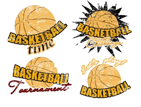 Set of basketball stamps, vector illustration Stock Vector - 11881362