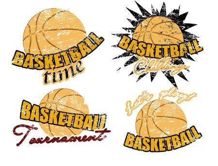 Set of basketball stamps, vector illustration Vector