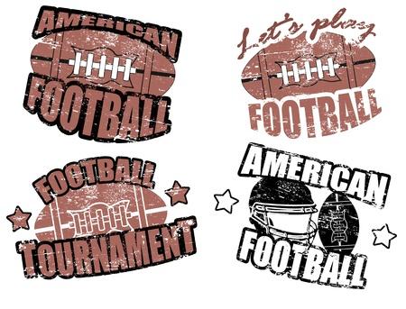 campeonato de futbol: Juego de fútbol americano sellos grunge, ilustración vectorial