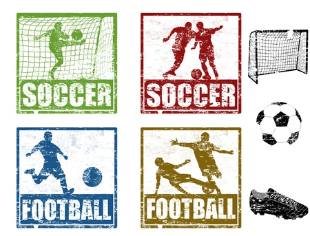 Set of grunge rubber stamp with soccer players, vector illustration Stock Vector - 11881361